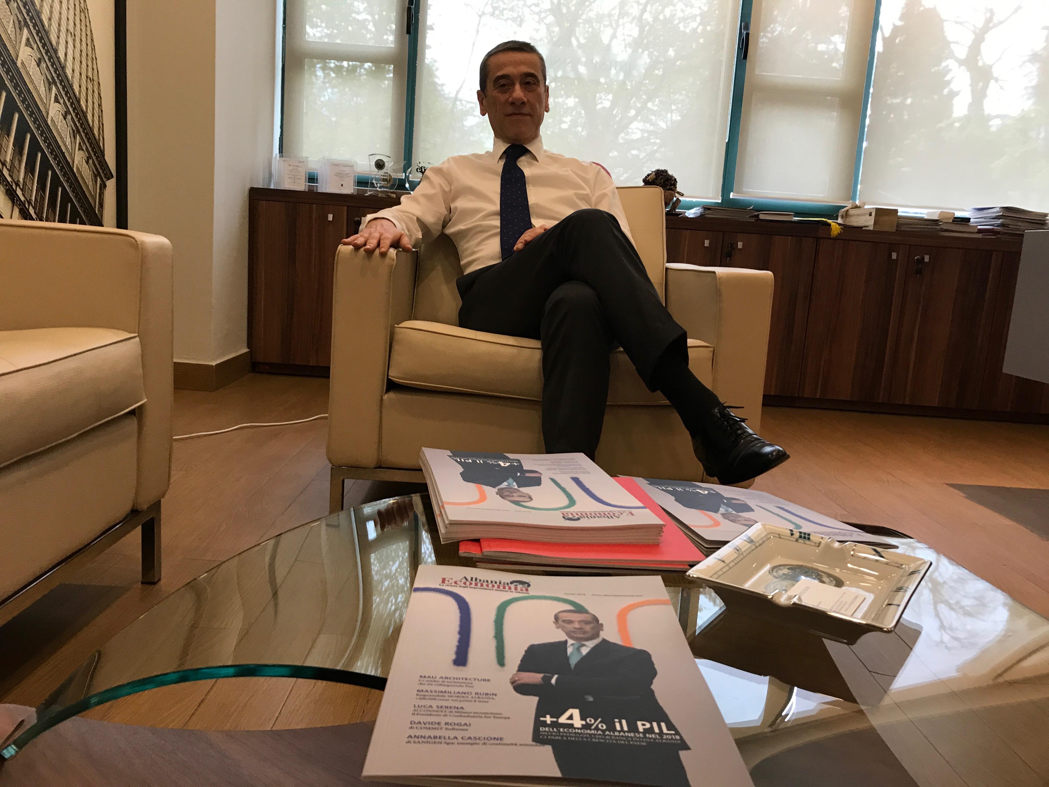 """""""L'Albania nel 2018 è cresciuta ad un ritmo del 4%"""", Silvio Pedrazzi, Presidente di Intesa Sanpaolo Bank Albania."""